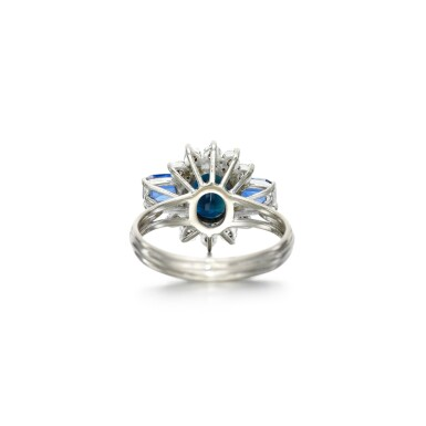 View 3. Thumbnail of Lot 74. Graff   Sapphire and diamond ring.