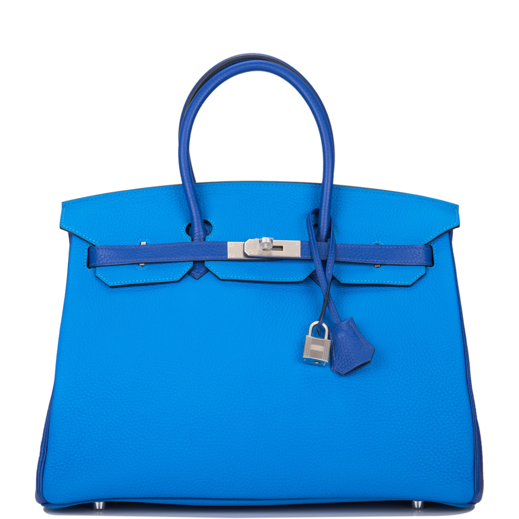 View full screen - View 1 of Lot 12. Hermès Horseshoe Stamp (HSS) Bicolor Bleu Electrique and Bleu Hydra 35cm of Clemence Leather with Brushed Palladium Hardware.
