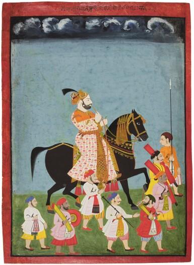 AN EQUESTRIAN PORTRAIT OF MAHARAJA PRITHVI SINGH, NORTH INDIA, RAJASTHAN, MEWAR, 19TH CENTURY