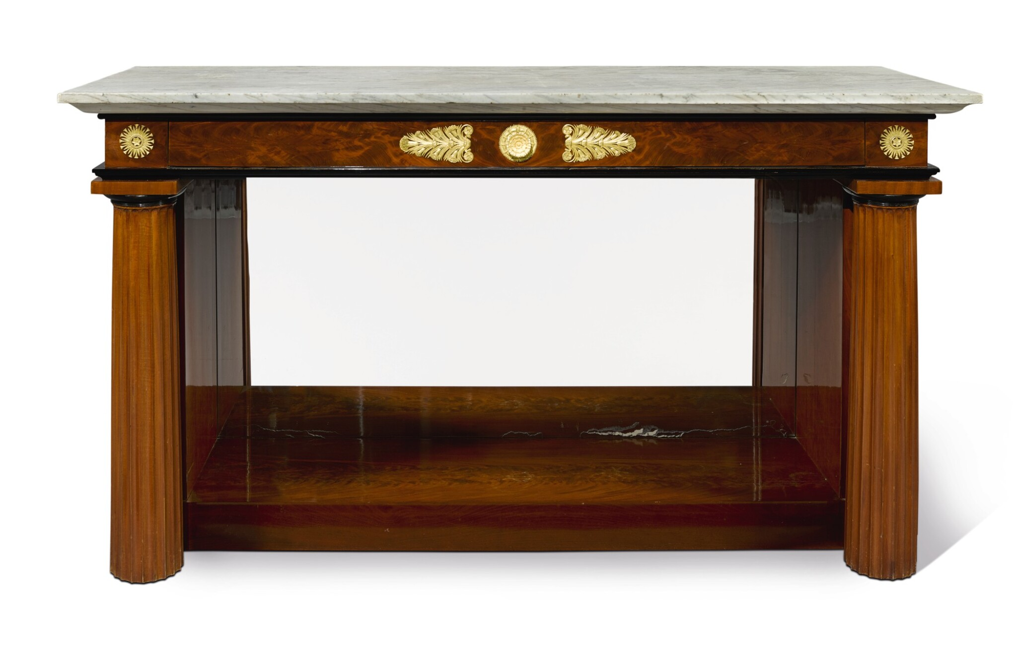 View full screen - View 1 of Lot 239. AN EMPIRE STYLE GILT BRONZE-MOUNTED MAHOGANY CONSOLE TABLE.