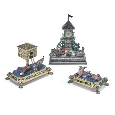 View 1. Thumbnail of Lot 879. AN ASSEMBLED THREE PIECE SILVER, ENAMEL, HARDSTONE, PEARL, AND GEM-SET BARNYARD CLOCK GARNITURE, PROBABLY HANAU, LATE 19TH CENTURY.