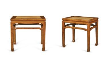 View 2. Thumbnail of Lot 110. Two 'huanghuali' rectangular stools (Deng), Qing dynasty, 18th century | 清十八世紀 黃花梨有束腰羅鍋棖馬蹄足長方凳兩件.