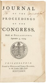 Continental Congress | The rare first editions with remarkable provenance