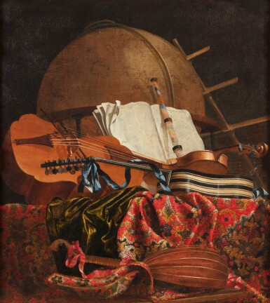 View 1. Thumbnail of Lot 155. Still life with a globe and musical instruments.