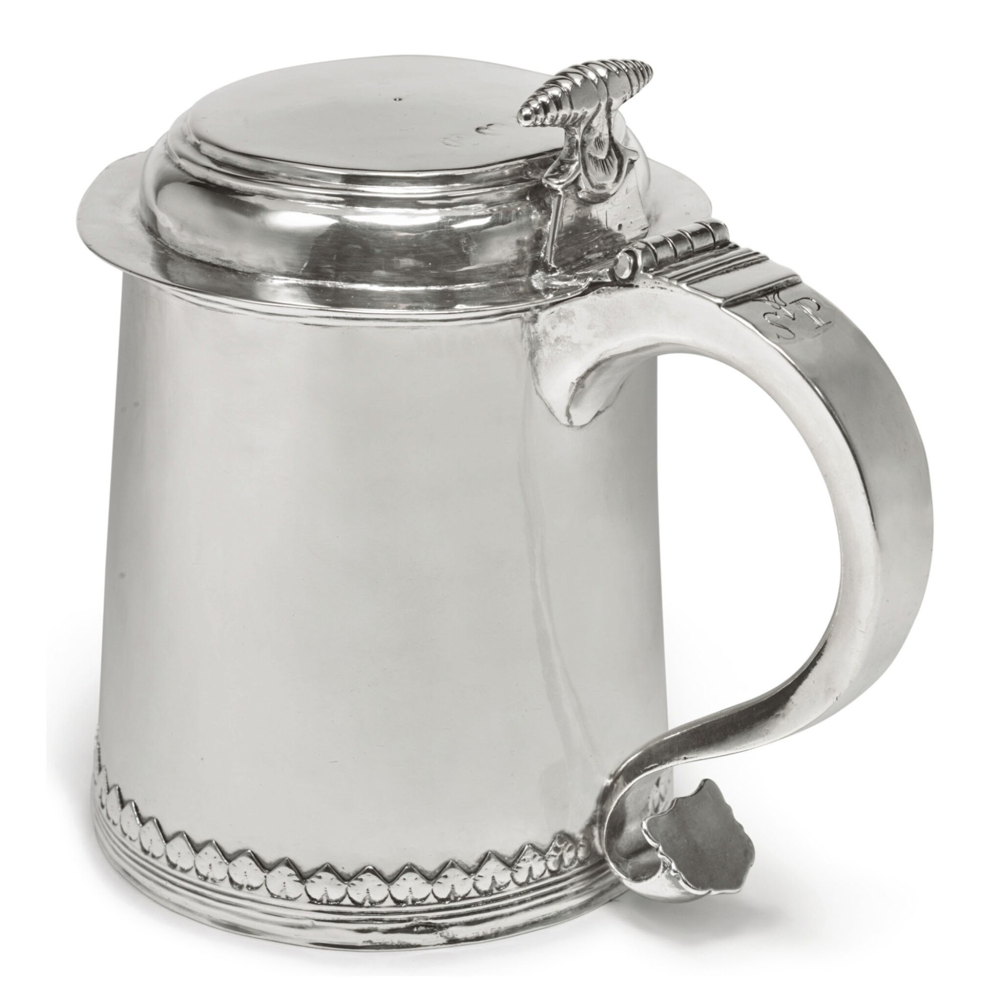View full screen - View 1 of Lot 401. An American Silver Small Tankard, Johannis Nys, Philadelphia, dated 1716.