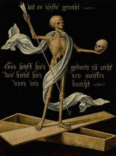 NETHERLANDISH SCHOOL, MID-16TH CENTURY | A SKELETON STANDING ON AN OPEN COFFIN HOLDING A SKULL AND AN ARROW, AS AN ALLEGORY OF EARTHLY VANITY AND DIVINE SALVATION