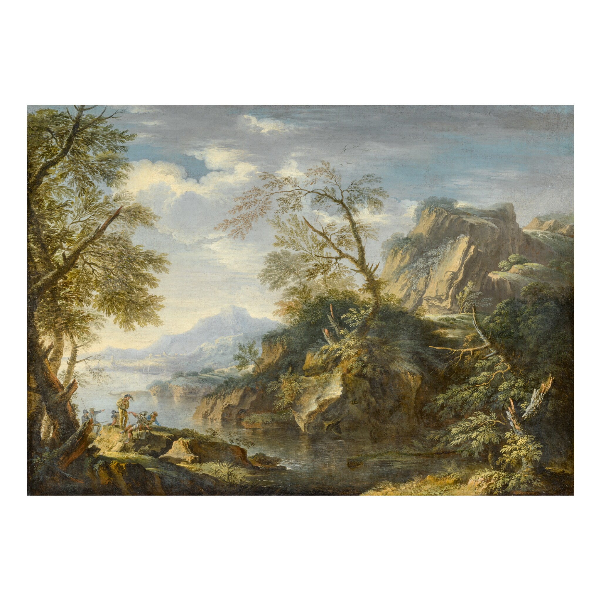 View full screen - View 1 of Lot 120. FOLLOWER OF SALVATOR ROSA | MOUNTAINOUS LANDSCAPE WITH SOLDIERS IN THE FOREGROUND.
