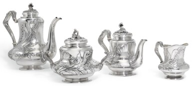 A RUSSIAN SILVER TEA AND COFFEE SERVICE, FABERGÉ, MOSCOW, 1898-1908