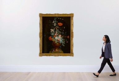 View 4. Thumbnail of Lot 647. Still life of flowers in a terracotta vase before a stone niche.