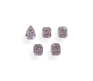 View 1. Thumbnail of Lot 7. A Group of Five Fancy Purplish Pink and Fancy Purple-Pink Diamonds.