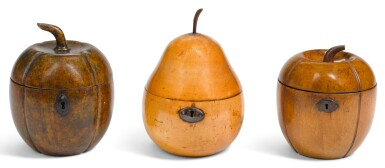 View 1. Thumbnail of Lot 1. THREE GEORGE III FRUITWOOD TEA CADDIES, CIRCA 1800, ONE IN THE FORM OF A PEAR, TWO IN THE FORM OF A MELON.