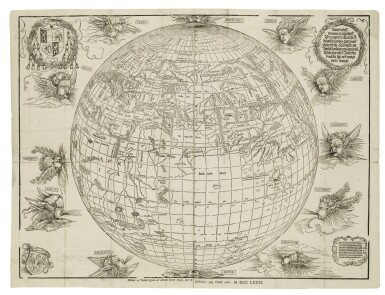 View 1. Thumbnail of Lot 176. DÜRER, ALBRECHT, AND JOHANN STABIUS | [Map of the World as a Sphere].[Vienna,] 1781 (fromwoodblocks cut in 1515).