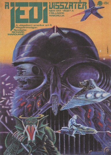 RETURN OF THE JEDI / A JEDI VISSZATÉR, FIRST HUNGARIAN RELEASE POSTER AND TRAM TIMETABLE CARD, TIBOR HELENYI, 1984