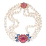 PINK TOURMALINE, SAPPHIRE, CULTURED PEARL AND DIAMOND NECKLACE, SEAMAN SCHEPPS