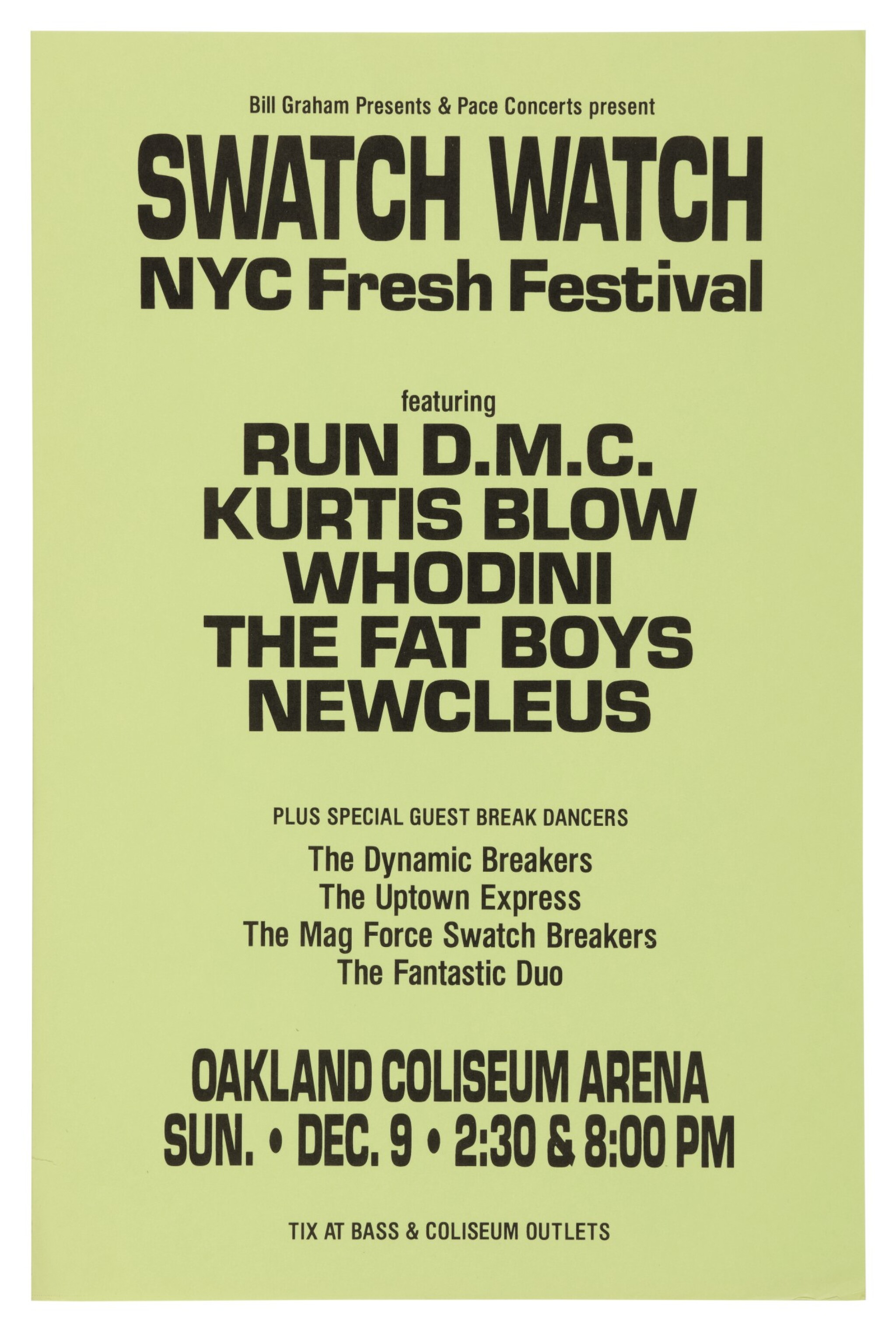 """View full screen - View 1 of Lot 50. RUN-DMC   """"BILL GRAHAM PRESENTS & PACE CONCERTS PRESENT SWATCH WATCH NYC FRESH FESTIVAL"""" CONCERT POSTER, 1984."""