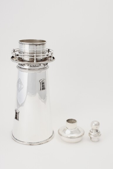 View 2. Thumbnail of Lot 21.  AN AMERICAN SILVER-PLATED LIGHTHOUSE COCKTAIL SHAKER | INTERNATIONAL SILVER CO., MERIDEN, CT | 1927-29.