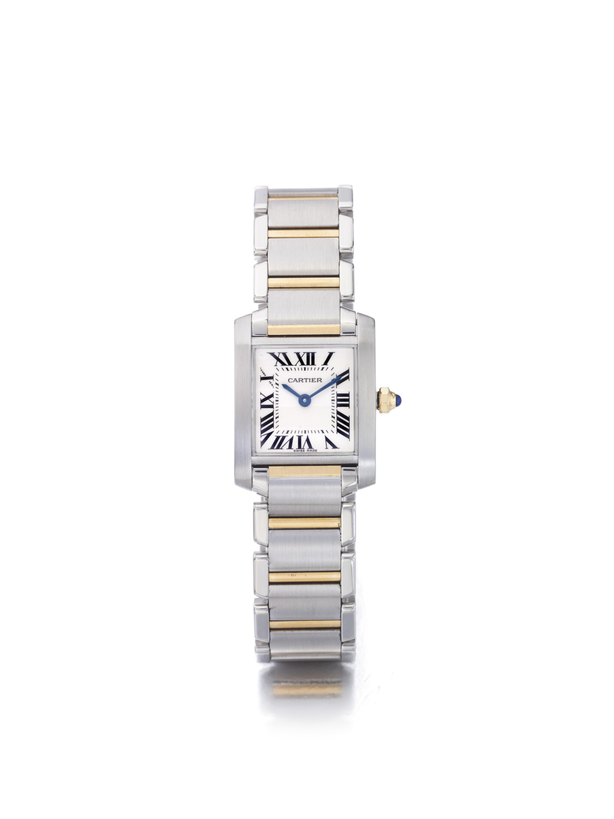 View 1 of Lot 10. CARTIER | TANK FRANCAISE REF 2384, A LADY'S STAINLESS STEEL AND YELLOW GOLD WRISTWATCH WITH BRACELET CIRCA 2005.