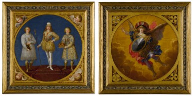 View 1. Thumbnail of Lot 665. A young prince, possibly Ferdinand Karl, Archduke of Austria and Tyrol, flanked by two attendants;  The Archangel Saint Michael, wearing a plumed helmet with the colors of Austria.