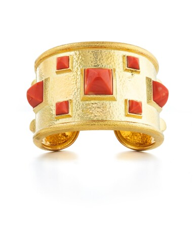 View 1. Thumbnail of Lot 53. DAVID WEBB | GOLD AND CORAL 'BASTILLE' CUFF-BRACELET.