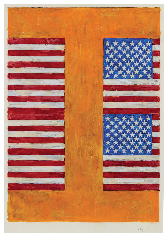 JASPER JOHNS | TWO FLAGS ON ORANGE