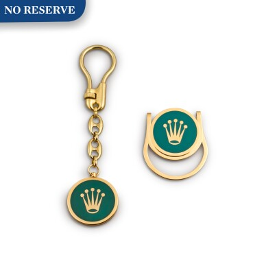 View 1. Thumbnail of Lot 726. GILT METAL AND ENAMEL KEYCHAIN AND MONEY CLIP SET.