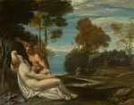 FOLLOWER OF ANNIBALE CARRACCI | A NYMPH AND SATYR IN A LANDSCAPE