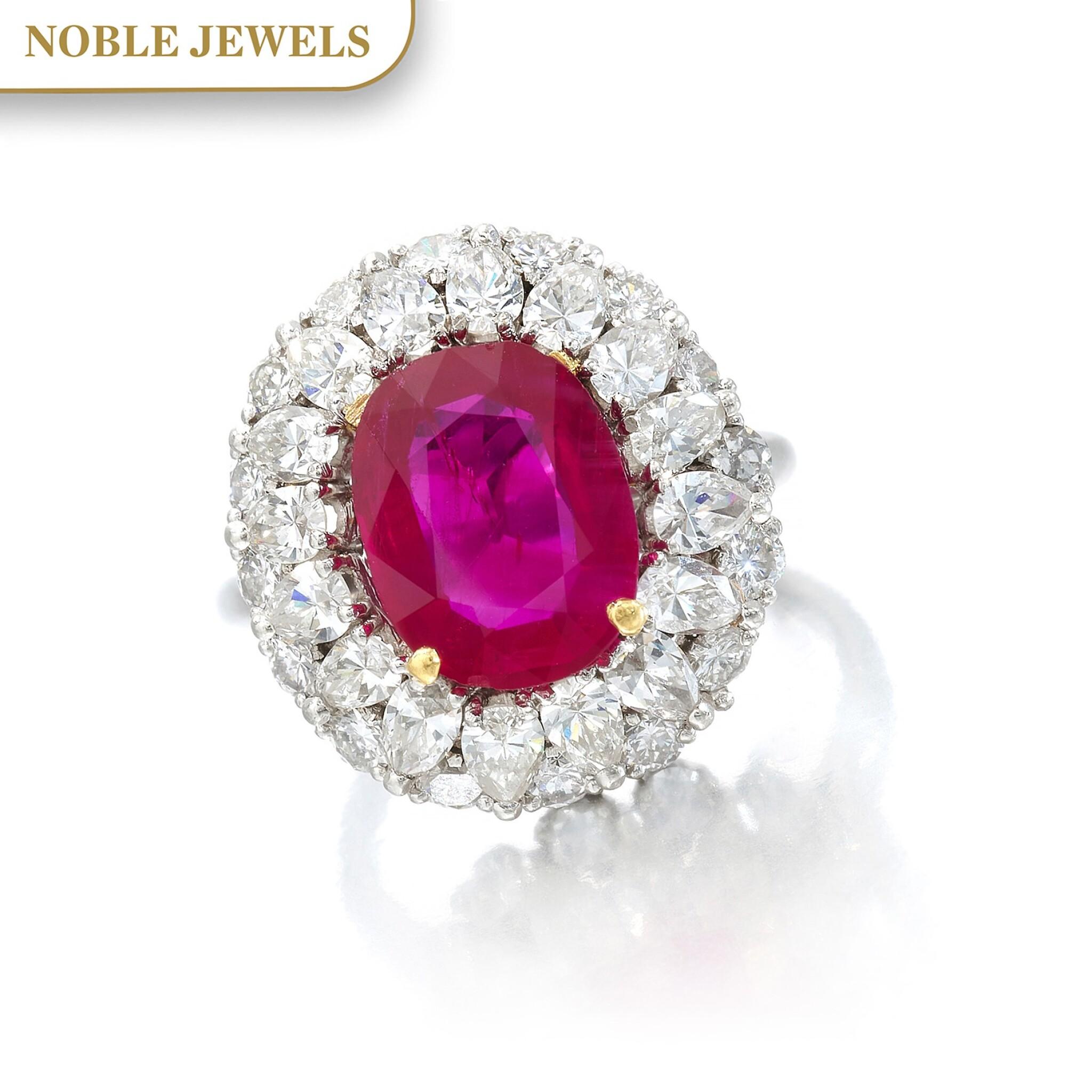 View full screen - View 1 of Lot 663. Ruby and diamond ring | 紅寶石配鑽石戒指.