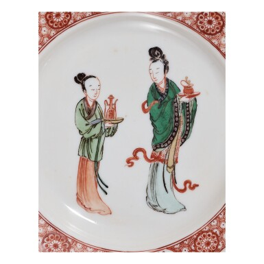 View 2. Thumbnail of Lot 107.  A PAIR OF SMALL FAMILLE-VERTE 'BIRTHDAY' DISHES,  KANGXI MARKS AND PERIOD.