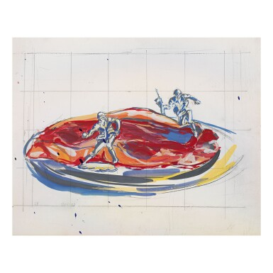 DAVID WOJNAROWICZ & LUIS FRANGELLA   UNTITLED (STEAK ON A PLATE WITH WARRIORS)