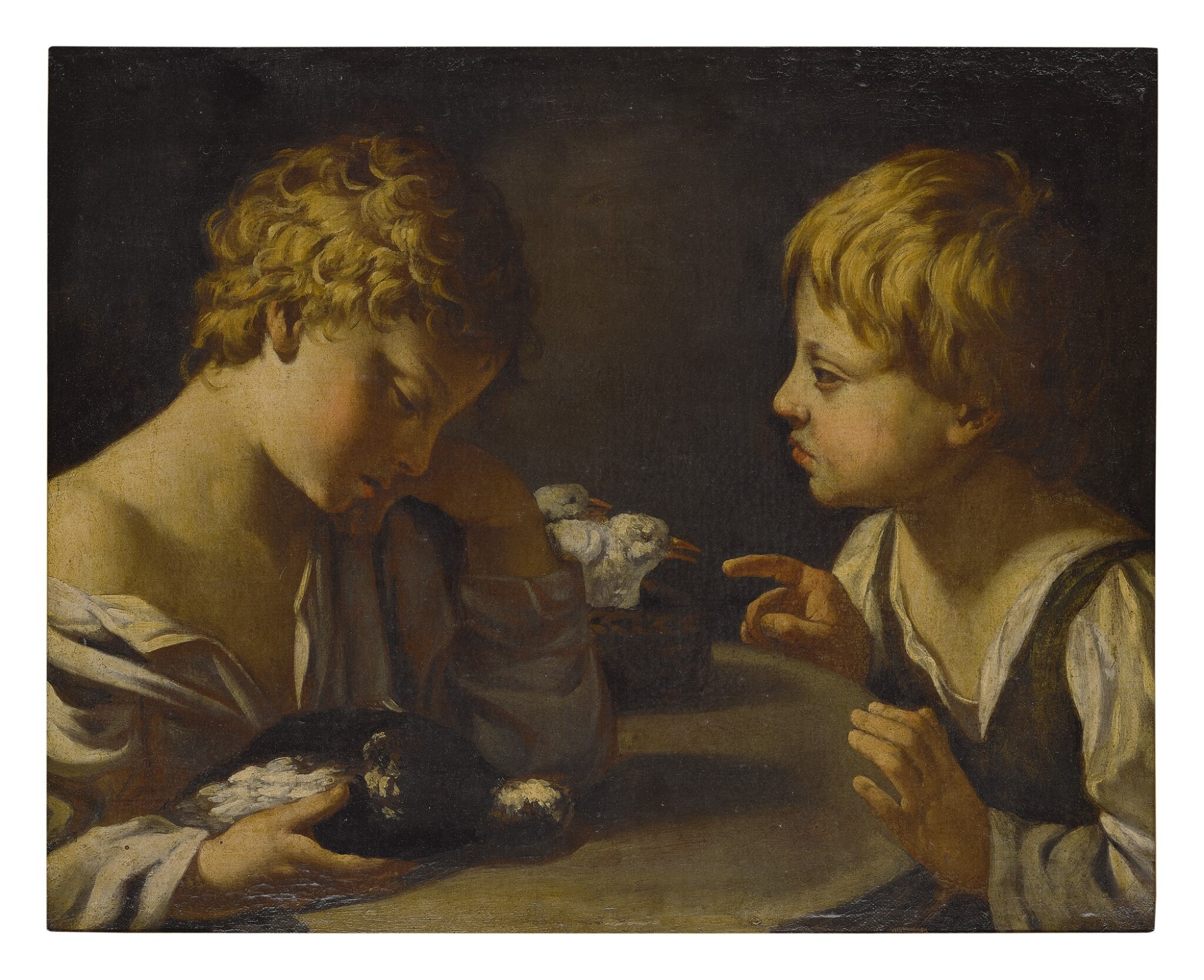 BOLOGNESE SCHOOL, 16TH CENTURY | TWO YOUNG BOYS WITH DOVES