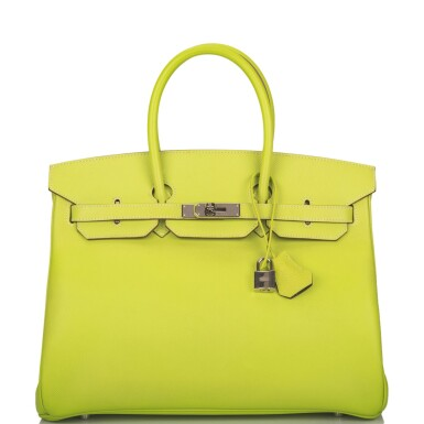 """View 1. Thumbnail of Lot 31. Hermès Bi-color Kiwi and Lichen """"Candy"""" Birkin 35cm of Epsom Leather with Palladium Hardware."""
