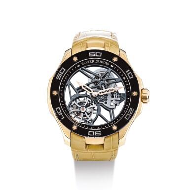 "ROGER DUBUIS  |  PULSION, REFERENCE DBPU0001  A LIMITED EDITION PINK GOLD SKELETONISED TOURBILLON WRISTWATCH, CIRCA 2015 | 羅杰杜彼 | ""Pulsion 型號DBPU0001 限量版粉紅金鏤空陀飛輪腕錶,機芯編號825,錶殼編號X096FH及0079/0188,約2015年製"""