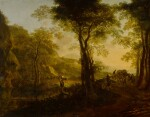 Italianate landscape at sunset, with travelers on a country road