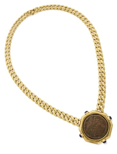 View 1. Thumbnail of Lot 426. GOLD, ANTIQUE COIN AND SAPPHIRE 'MONETE' NECKLACE, BULGARI.
