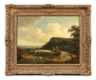 View 2. Thumbnail of Lot 105. An extensive landscape with peasants and cows crossing a river.