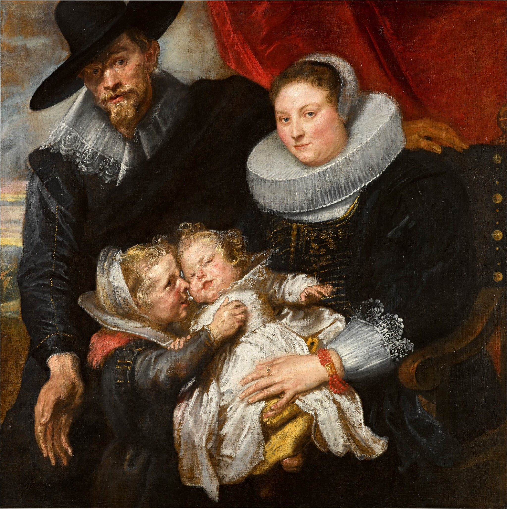 View full screen - View 1 of Lot 14. Family portrait of the painter Cornelis de Vos and his wife Suzanna Cock and their two eldest children, Magdalena and Jan-Baptist   《畫家科尼利厄斯・德・沃斯、其妻蘇珊娜・考克與長子女馬格達萊納和揚・巴普蒂斯的全家福》.