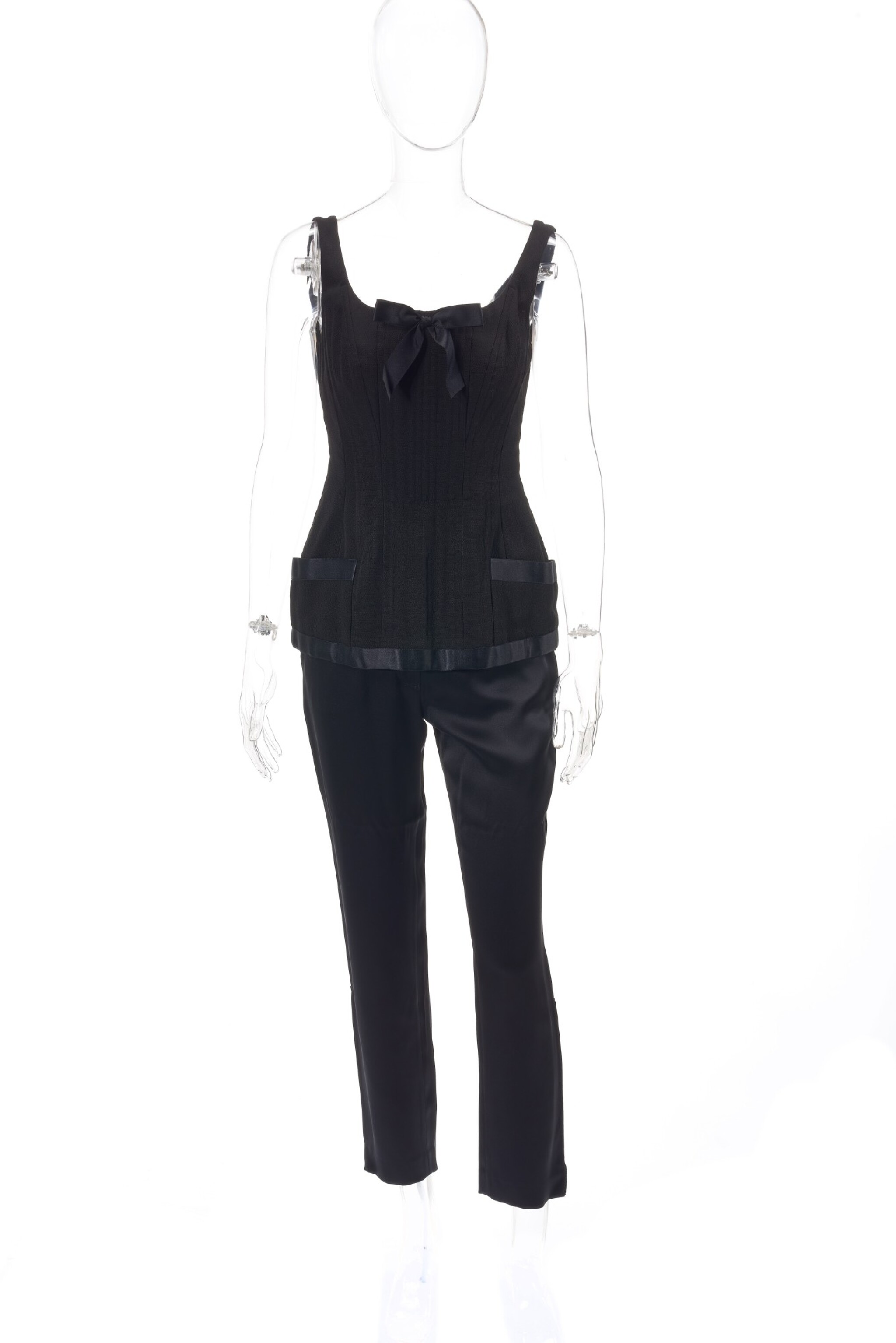 Pair of black silk trousers and black corset top