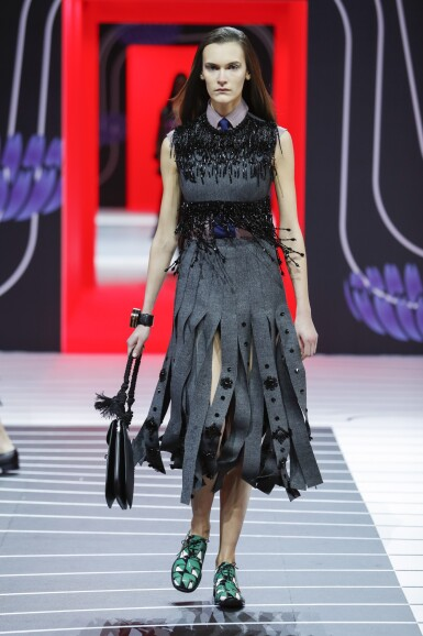 View 7. Thumbnail of Lot 43. PRADA   EMBROIDERED WOOL PLEATED SKIRT, BEADED FRINGE TOP AND VANITY BRACELET, WORN BY FIA LJUNGSTROM.