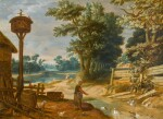 JOHANNES URSELINCX | A RIVER LANDSCAPE WITH A PEASANT WOMAN FEEDING DUCKS