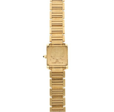View 4. Thumbnail of Lot 84. REFERENCE 2385 TANK FRANCAISE A YELLOW GOLD RECTANGULAR BRACELET WATCH, CIRCA 1999.