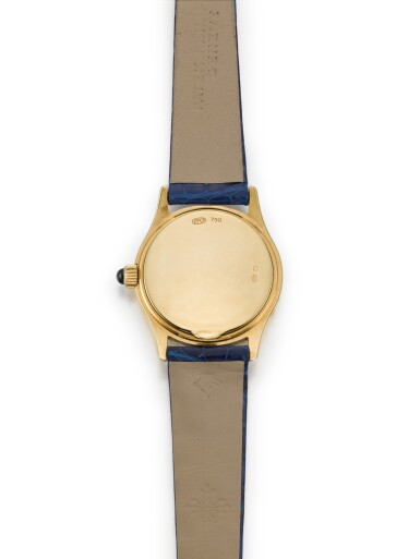 View 4. Thumbnail of Lot 702. REFERENCE 4856 YELLOW GOLD WRISTWATCH WITH MOON-PHASES MADE IN 2002.