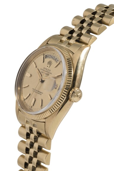 View 2. Thumbnail of Lot 26. ROLEX   DAY-DATE, REF 6611B YELLOW GOLD WRISTWATCH WITH DAY, DATE AND BRACELET CIRCA 1958.