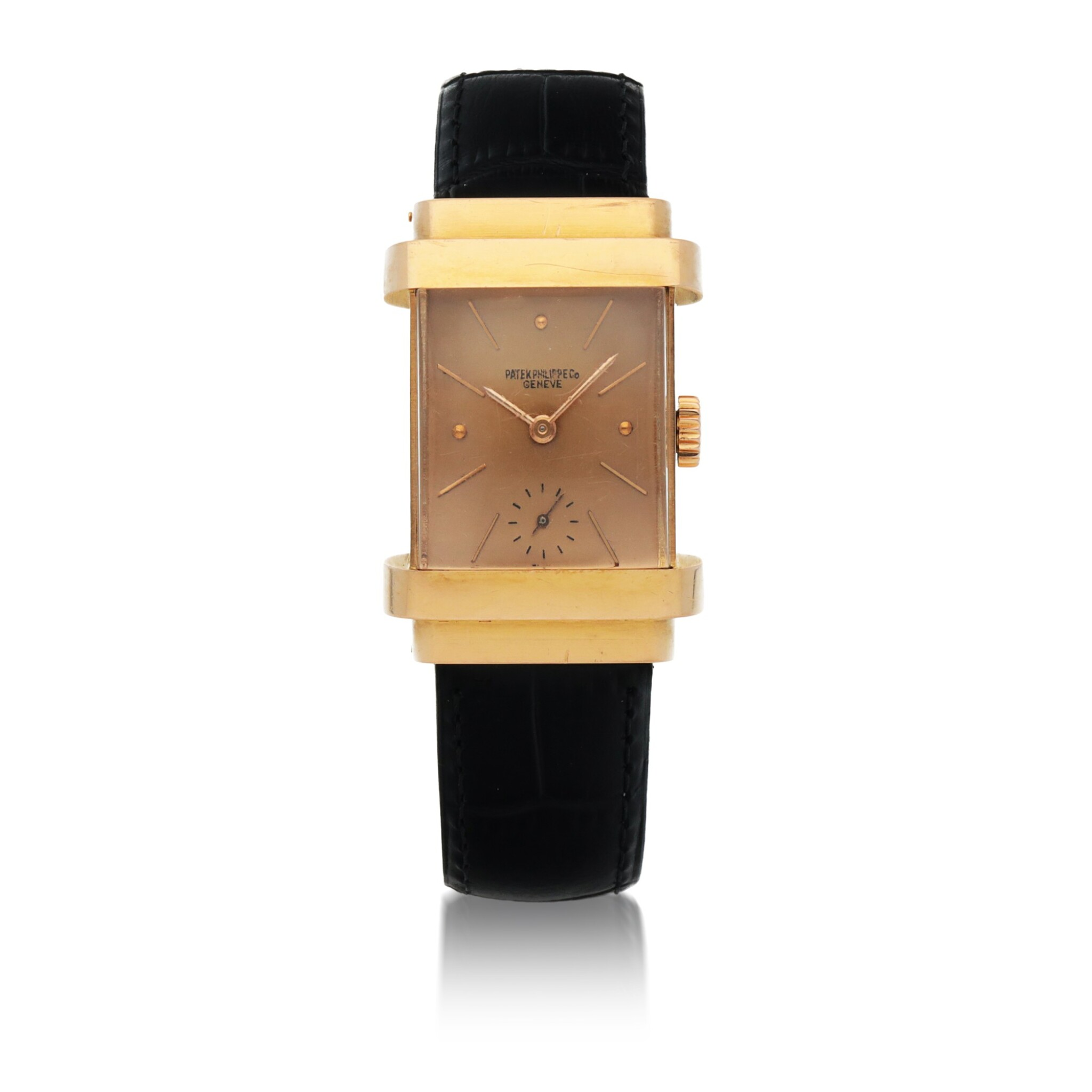 View full screen - View 1 of Lot 413. 'TOP HAT', REF 1450 PINK GOLD WRISTWATCH WITH PINK DIAL MADE IN 1944    .