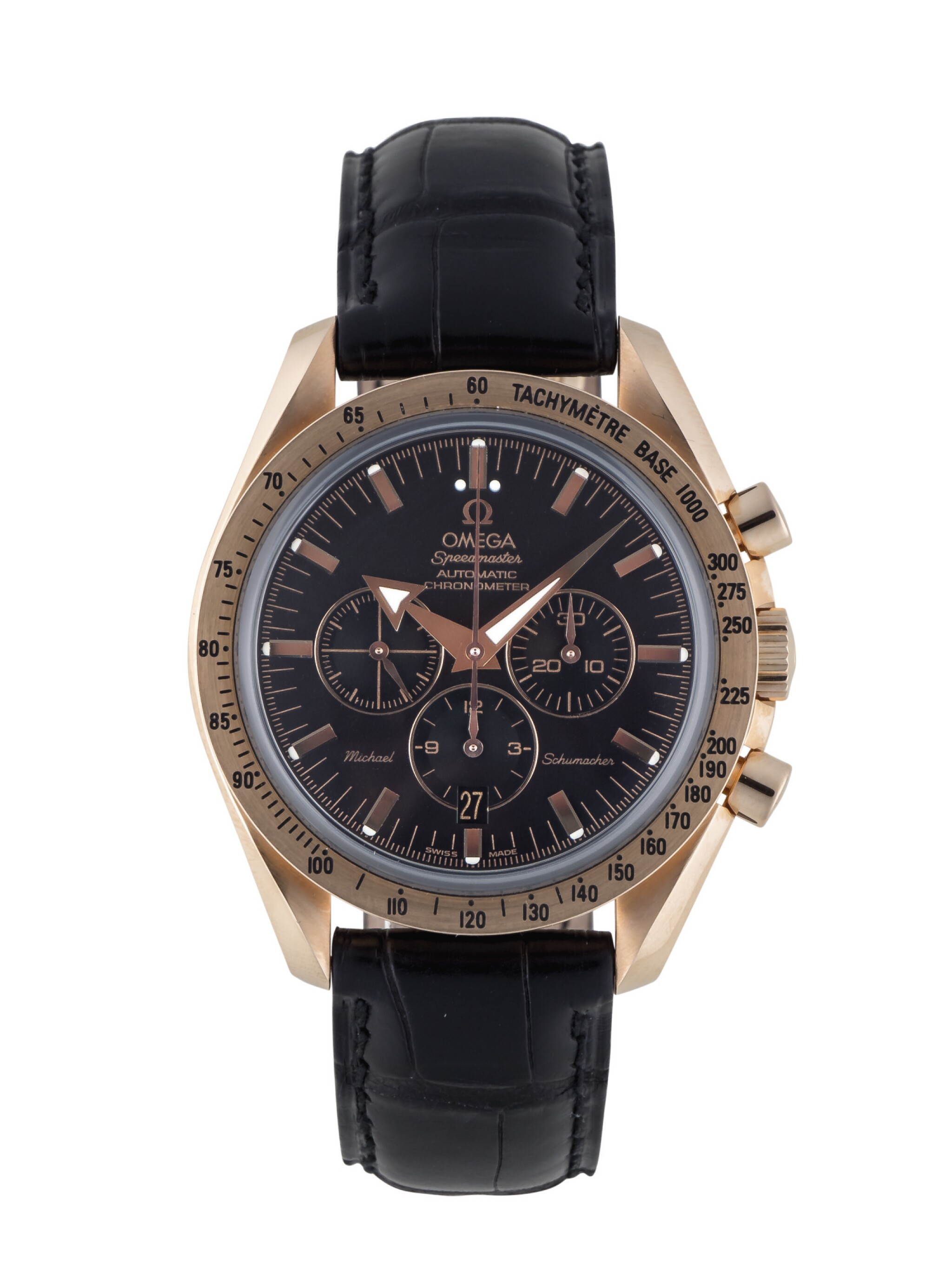 View full screen - View 1 of Lot 12. OMEGA   SPEEDMASTER MICHAEL SCHUMACHER LIMITED EDITION PINK GOLD CHRONOGRAPH WRISTWATCH WITH DATE CIRCA 2003.