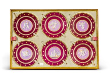View 4. Thumbnail of Lot 105. A Royal presentation set of eighteen Royal Copenhagen claret-ground plates, circa 1858.