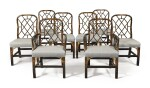 A Set of Eight English Black and Gilt Japanned Dining Chairs, Late 19th Century