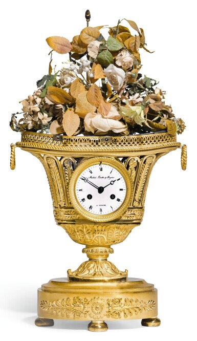 AN ORMOLU URN CLOCK WITH LATER MUSICAL AND AUTOMATON SINGING BIRD MECHANISMS, SWISS, CIRCA 1820 AND LATER, CIRCA 1820 AND LATER
