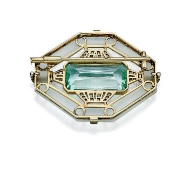 View 3. Thumbnail of Lot 9178. AQUAMARINE, ROCK CRYSTAL AND DIAMOND BROOCH | 海藍寶 配 白水晶 及 鑽石 別針.