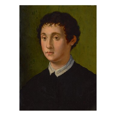 View 1. Thumbnail of Lot 39. 39 CARLO PORTELLI   PORTRAIT OF A YOUNG MAN. BUST LENGTH, FACING LEFT, WITH A WHITE LACE COLLAR   .