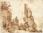ROELANDT SAVERY | MOUNTAINOUS LANDSCAPE WITH TRAVELLERS ON A ROCKY PATH